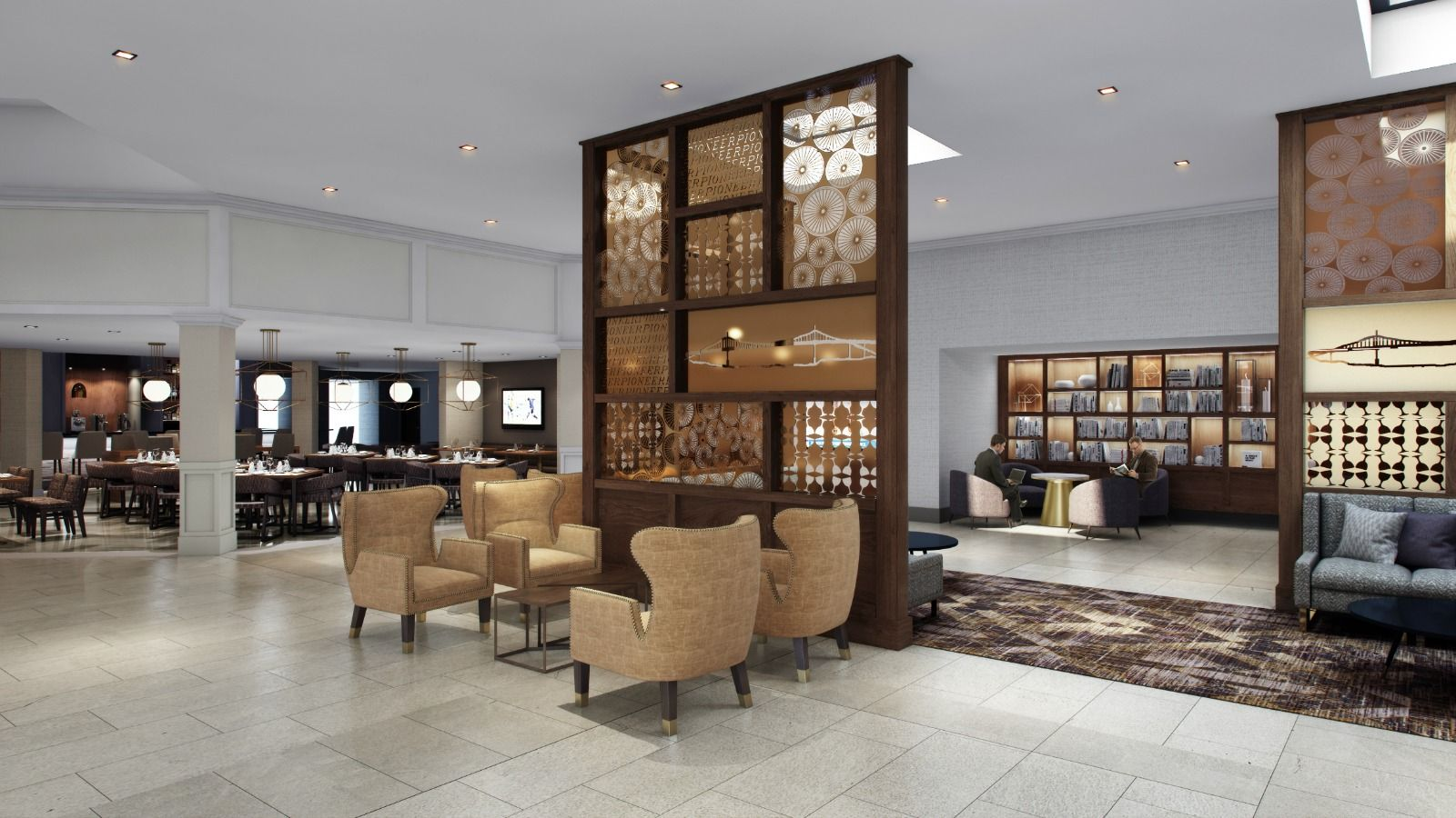 Lobby and Restaurant Area | Sheraton Portland Airport Hotel